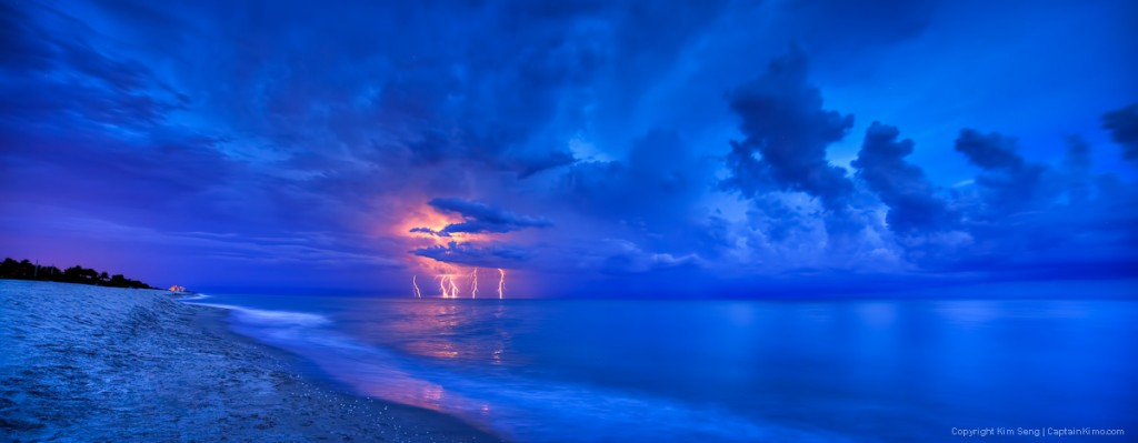 Lightning Storm at Beach Over the Atlantic Ocean