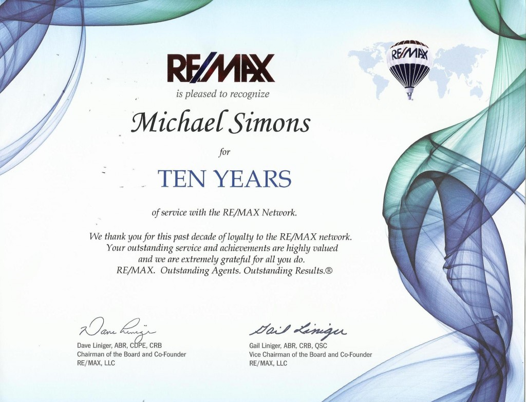 Michael Simons REMAX 10 Years