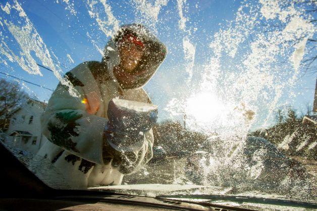 ice on windshield