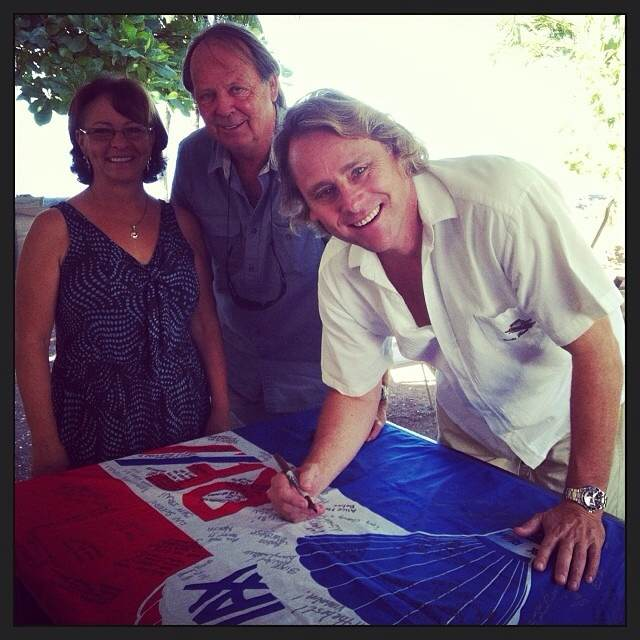 Signing the Johnson Flag