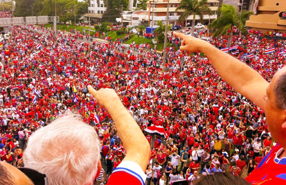 President of Costa Rica Celebrating Big Win