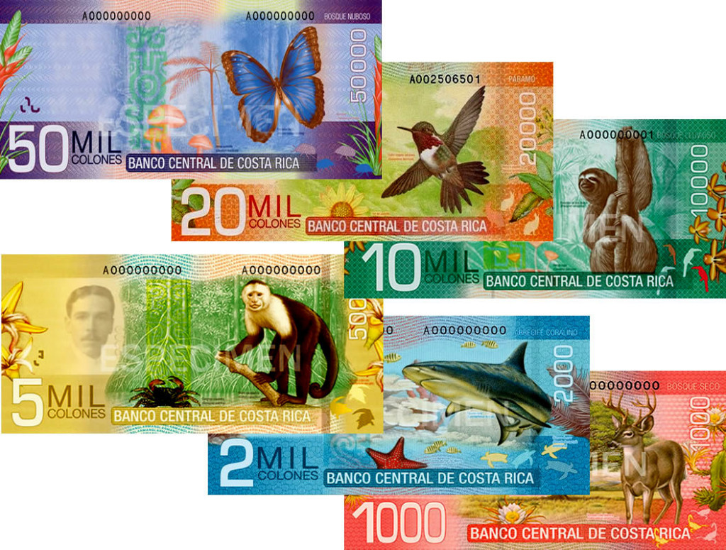 Over three years from 2012 through 2012 Costa Rica rolled out new currency featuring wildlife and nature