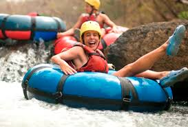 People enjoying white water rafting in Costa Rica