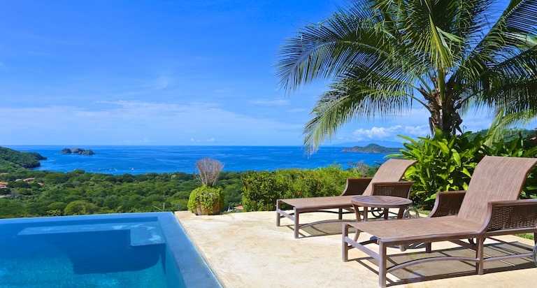 View of Playa Hermosa from a hillside luxury home in Costa Rica