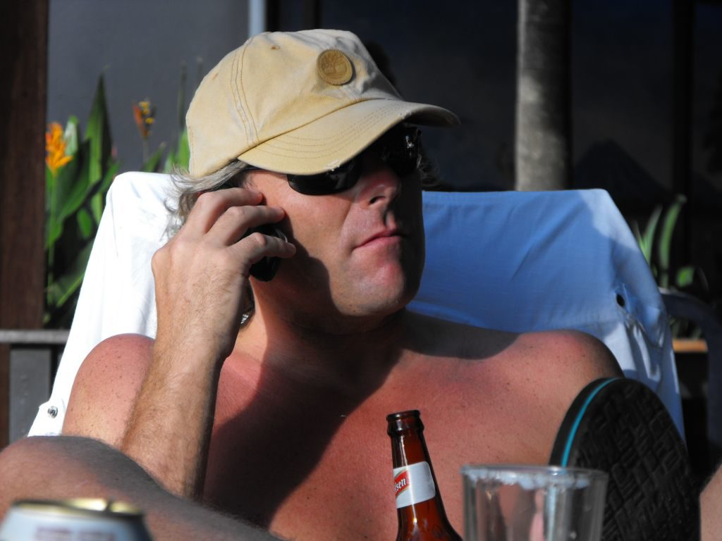 Michael Simons talking on a cell phone in Costa Rica